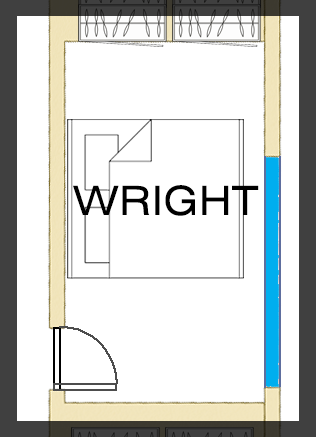 Floorplan of Wright Room - Queen Bed