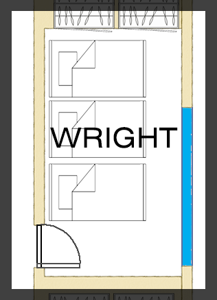Floorplan of Wright Room - Three Single Beds