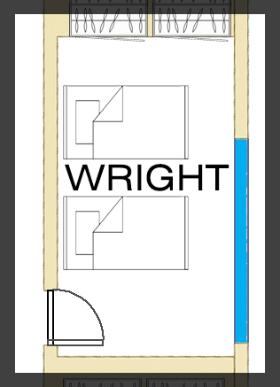 Floorplan of Wright Room - Twin Singles
