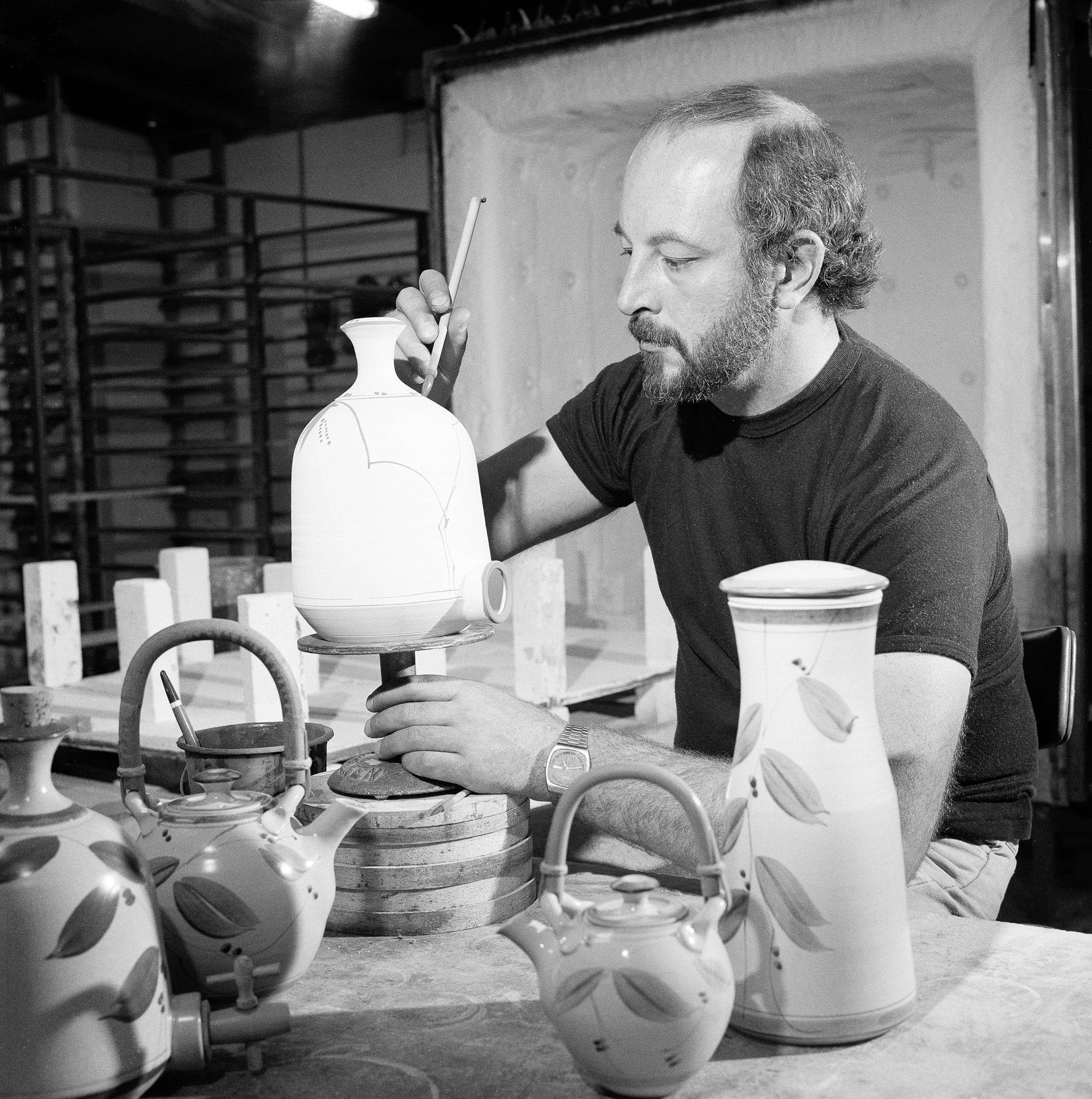Artist Doug Alexander in his Cuppacumbalong studio c.1976